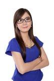 Jeune femme sûre en verres, d'isolement sur le blanc Photos libres de droits