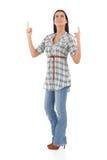 Jeune femme se dirigeant et recherchant souriante photo libre de droits