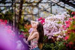 Jeune femme se tenant en fleurs proches cultivées en serre au printemps Images libres de droits