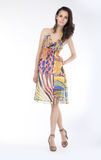 Jeune femme sensuel dans la pose dernier cri de robe Images libres de droits