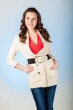 Jeune femme sensuelle avec de beaux longs poils bruns Photographie stock