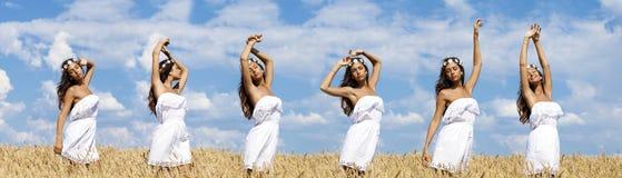 Jeune femme sexy dans un domaine d'or de blé photo stock