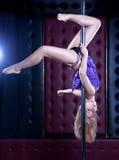 Jeune femme sexy de danse de pôle Photographie stock libre de droits