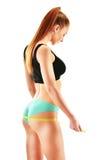 Jeune femme sexy se mesurant Perte de poids photo stock