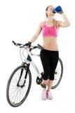 Jeune femme sexy sur un bicykle Photo stock