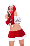 Jeune femme stupéfaite de Santa Photographie stock