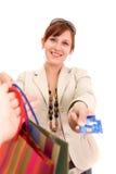 Jeune femme sur des achats Image libre de droits
