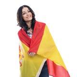 Jeune femme sur le fond du drapeau espagnol Photo stock