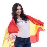 Jeune femme sur le fond du drapeau espagnol Photo libre de droits