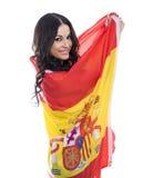 Jeune femme sur le fond du drapeau espagnol Images libres de droits