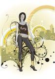 jeune femme sur le fond urbain avec l'ornam floral illustration stock
