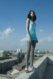 Jeune femme sur le toit Photographie stock
