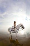 Jeune femme sur un cheval Cavalier de horseback, cheval d'équitation de femme sur b images stock