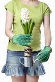 Jeune femme tenant la fleur blanche de jacinthe Image stock