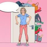 Jeune femme tenant la porte avec le groupe de vêtements Illustration d'art de bruit illustration de vecteur