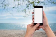 Jeune femme tenant le téléphone intelligent avec le fond brouillé Pour Gra images libres de droits