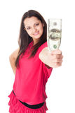 Jeune femme tenant un billet d'un dollar 100 Photo stock