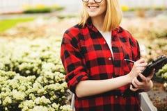 Jeune femme travaillant en serre chaude Fleurs attrayantes de contr?le et de compte de fille, utilisant la tablette image libre de droits