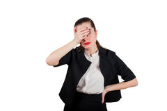 Jeune femme triste avec le facepalm Image stock