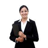 Jeune fichier de recopie de femme d'affaires images stock