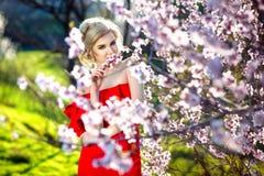 Jeune fille attirante avec de longs cheveux droits se tenant dans les champs de pommiers fleurissants Femme de sourire de beauté  image libre de droits