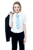 Jeune fille attirante d'affaires Photographie stock