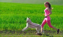 Jeune fille attirante de sport courant avec le chien en parc Images stock
