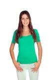 Jeune fille attirante en vert Image libre de droits