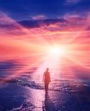 Jeune fille au coucher du soleil sur le bord de la mer Image stock