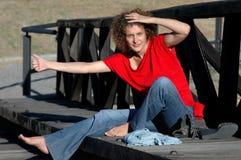 Jeune fille-auto-stoppeur Photo libre de droits
