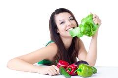 Jeune fille avec des légumes Photo stock