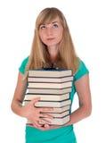 Jeune fille avec des livres Photographie stock libre de droits