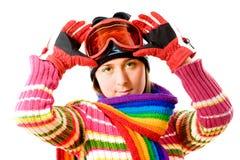 Jeune fille avec l'écharpe colorée Image libre de droits