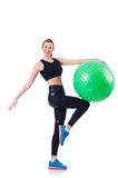 Jeune fille avec la boule suisse Photos stock
