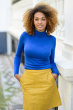 Jeune fille avec la coiffure Afro à l'arrière-plan urbain Images libres de droits