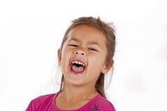 Jeune fille avec la robe rose dans le studio Photographie stock libre de droits