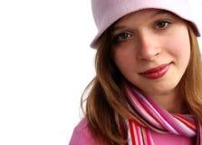 Jeune fille avec le chapeau rose Image libre de droits