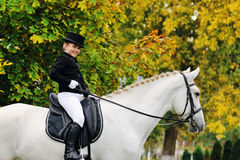 Jeune fille avec le cheval blanc de dressage Images stock