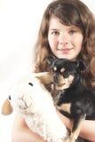 Jeune fille avec le crabot et les moutons Photos stock