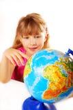 Jeune fille avec le globe Photo libre de droits