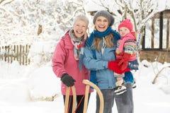 Jeune fille avec le grand-mère et la mère Photographie stock