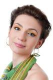 Jeune fille avec le maquillage expressif, d'isolement photos stock