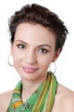 Jeune fille avec le maquillage expressif, d'isolement photo stock