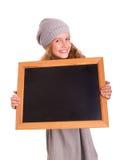 Jeune fille avec le petit tableau noir Image libre de droits
