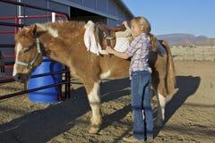 Jeune fille avec le poney Image libre de droits