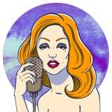 Jeune fille avec le rétro microphone illustration stock