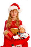 Jeune fille avec le sac au `s de Santa Photo stock