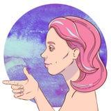 Jeune fille avec les cheveux roses illustration de vecteur