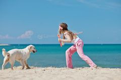 Jeune fille avec son chien par le bord de la mer Images stock