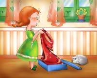 Jeune fille avec une robe neuve illustration de vecteur
